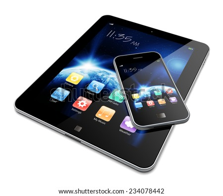 Tablet pc mobile smartphone space dawn stock illustration 234078442 tablet pc and mobile smartphone with space dawn wallpaper and apps on a screen the voltagebd Images