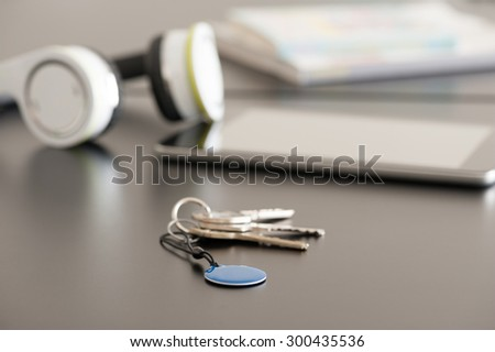 Tablet PC and NFC tag, Near Field Communication theme - stock photo