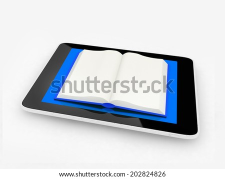 tablet pc and opened book on white background - stock photo