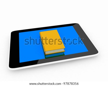 tablet pc and real book and on white background