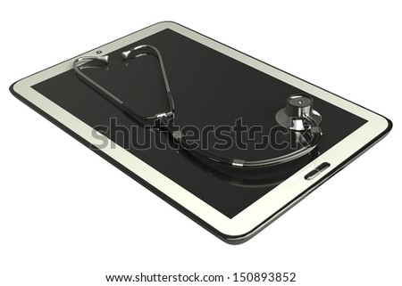Tablet PC and stethoscope; concept. white background. isolated. 3d - stock photo