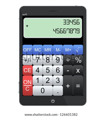 Tablet PC as Calculator on a white background - stock photo