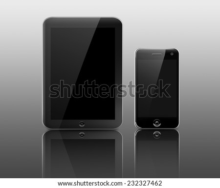 Tablet PC computer and smart phone with blank LCD screen on reflective background - stock photo