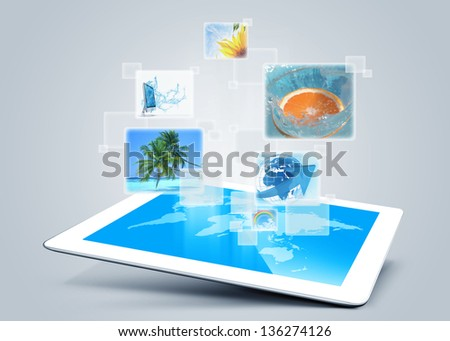 tablet pc computer tecnology background - stock photo