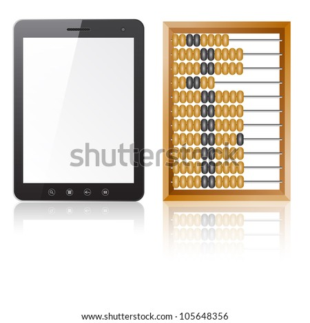 Tablet PC computer with blank screen with abacus isolated on white background.   illustration. - stock photo