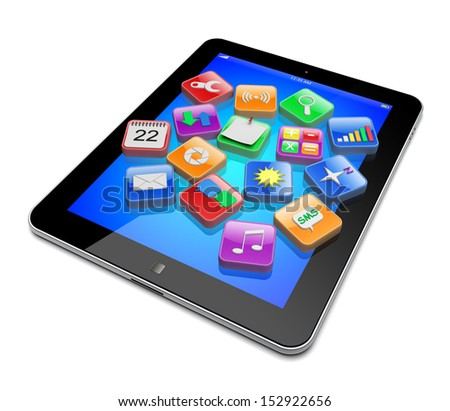 Tablet pc computer with software apps icons . Media technology concept.  3d image