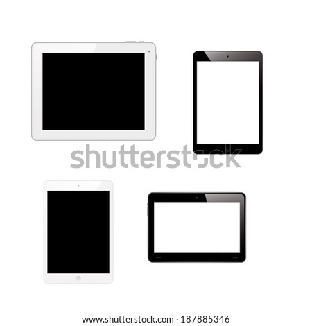 Tablet pc computers isolated on white background.  - stock photo