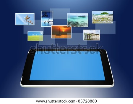 Tablet PC concept of global business - stock photo