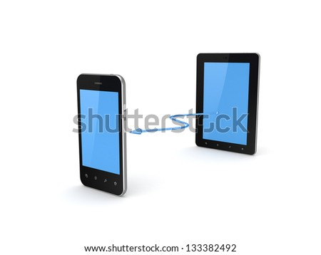 Tablet PC connected to mobile phone.Isolated on white background.3d rendered. - stock photo