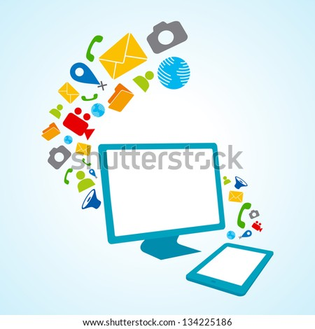 tablet pc copy file computer (Raster copy of vector) - stock photo