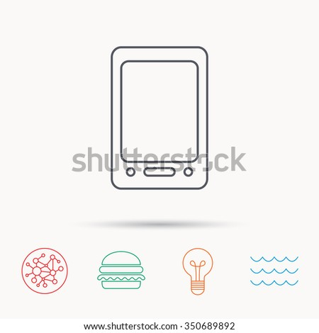 Tablet PC icon. Touchscreen pad sign. Global connect network, ocean wave and burger icons. Lightbulb lamp symbol. - stock photo