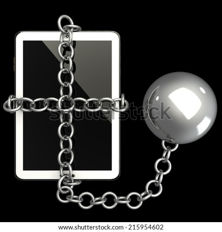Tablet PC. in chains. isolated on black background 3d illustration. high resolution - stock photo