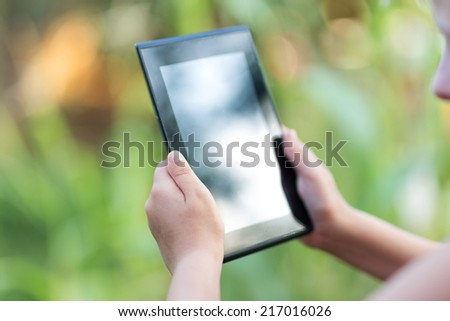 tablet pc in human hands