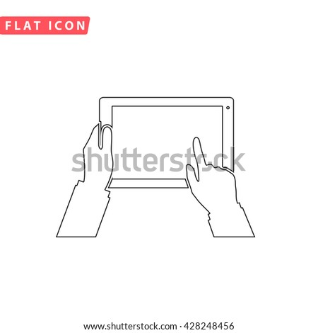 Tablet PC in human hands. Black outline simple pictogram on white. Line icon