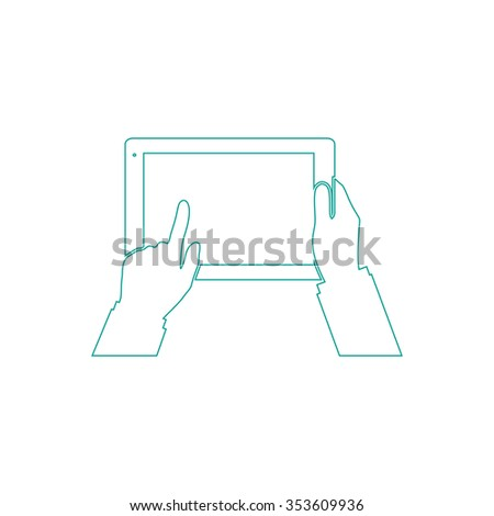 Tablet PC in human hands. Outline symbol on white background. Simple line icon