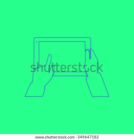 Tablet PC in human hands. Simple outline illustration icon on green background