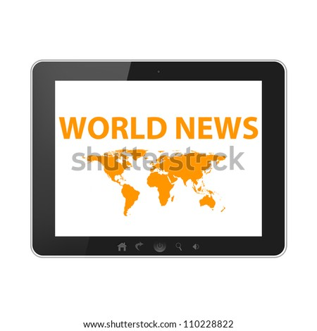 Tablet pc isolated on white background - stock photo