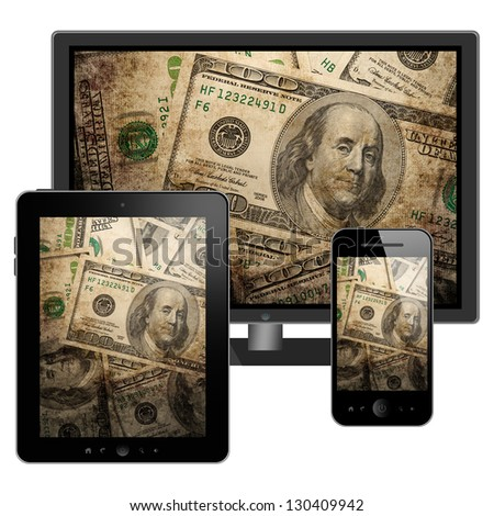 Tablet pc, mobile phone and HD TV - stock photo