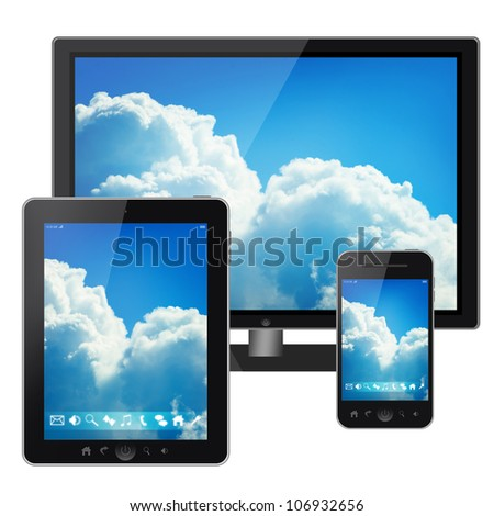 Tablet pc, mobile phone and tv isolated on white background - stock photo