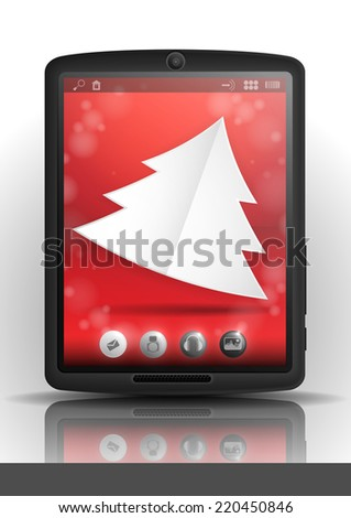 Tablet Pc & Mobile Phone. Christmas And New Year Symbols. - stock photo