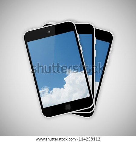 Tablet pc on gray background - stock photo