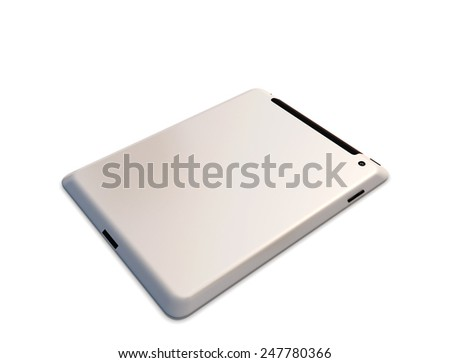 Tablet PC on the back isolated on white background. 3d illustration.