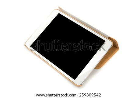 Tablet PC on white background. - stock photo