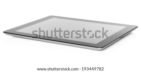 Tablet PC on white background close-up   - stock photo