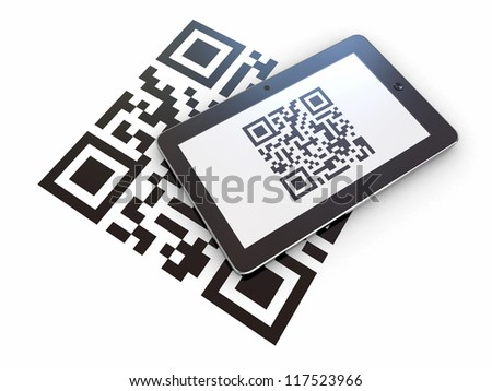 Tablet pc scanning qr code on white background. 3d - stock photo