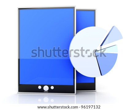 Tablet PC stats and analytics. 3D rendered illustration. - stock photo