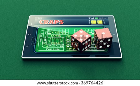 tablet pc with a craps app and a couple of dice on green background (3d render)