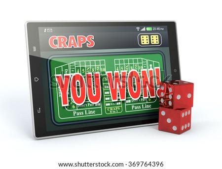 tablet pc with a craps app in a winning situation and a couple of dice, white background (3d render) - stock photo