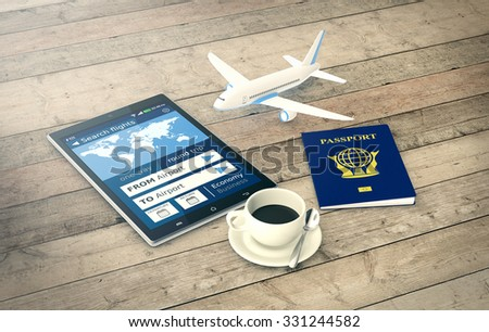 tablet pc with a flight booking app, a passport and a small airplane on wooden background (3d render) - stock photo