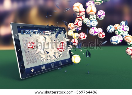 tablet pc with a lottery app and lottery balls coming out by breaking the glass (3d render) - stock photo