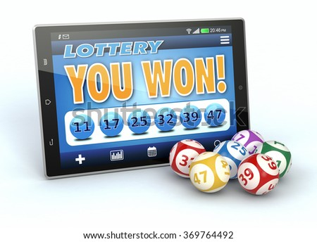 tablet pc with a lottery app in a winning situation and some lottery balls, white background (3d render) - stock photo