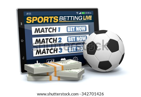 tablet pc with app for sport bets, stacks of banknotes and a soccer ball, concept of online bets (3d render) - stock photo
