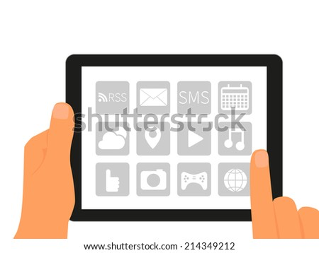 Tablet pc with applications in human hands. - stock photo