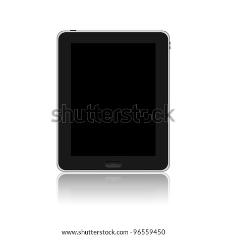 Tablet PC with black screen isolated on white background