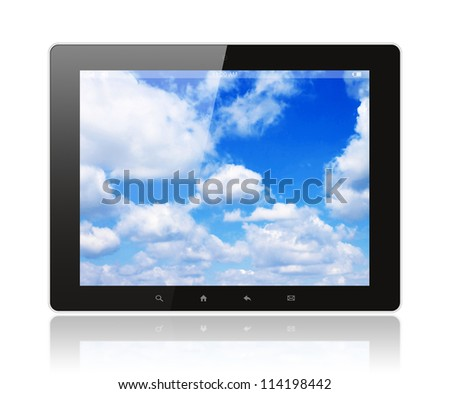 Tablet pc with blue sky on white background - stock photo