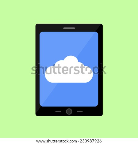 Tablet PC with cloud  icon in flat style