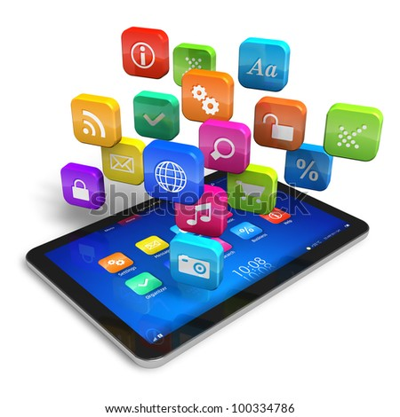 Tablet PC with cloud of colorful application icons isolated on white background - stock photo