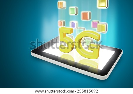 Tablet PC with 5G and super speed downloading application - stock photo