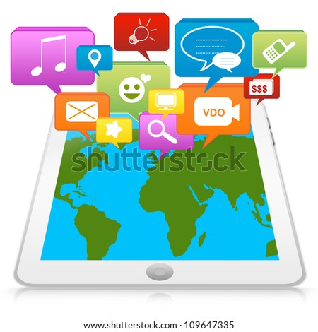 Tablet PC With Group of Social Icon for Social Network Concept Isolated on White Background