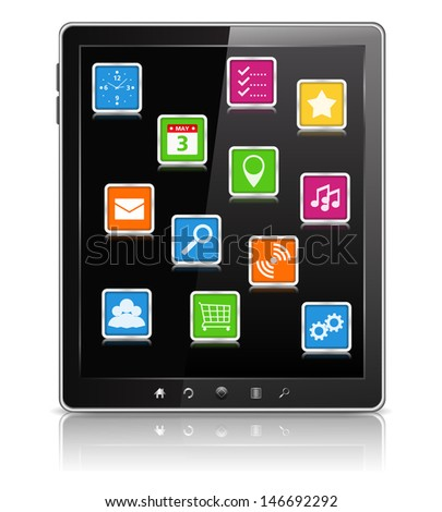 Tablet PC with icons on the screen - stock photo