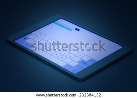 Tablet pc with keyboard interface on a screen - stock photo