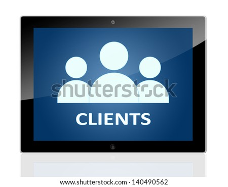 Tablet PC with people icons and word Clients on blue background - isolated on white background - stock photo