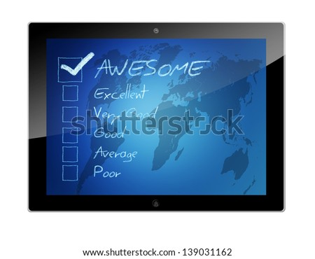 Tablet PC with Rating - assessment checkbox concept on blue background with world map - stock photo