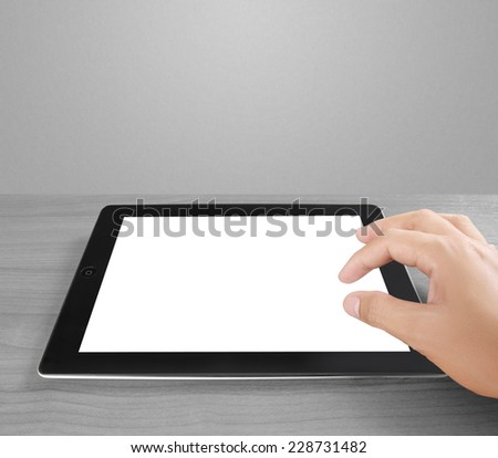 Tablet pc with white screen isolated  - stock photo