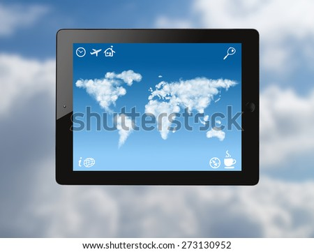 tablet pc with world map made of clouds and drawn icons on screen against sky background - stock photo