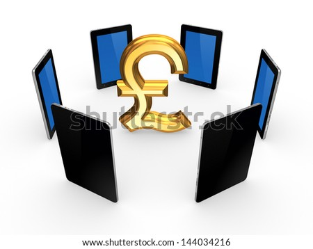 Tablet PCs around sign of pound sterling.Isolated on white.3d rendered. - stock photo